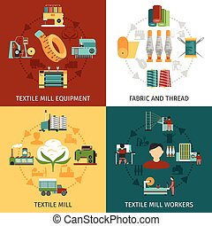 Textile Mill 4 Flat Icons Square