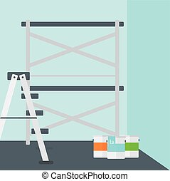 Background of wall with paint cans and ladder - Background...