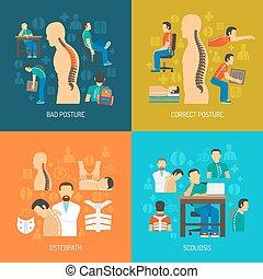 Posture 2x2 Design Concept Set - Posture 2x2 flat design...