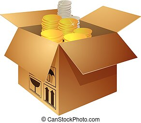 Open box with golden and silver coins