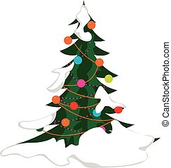 Snow-covered christmas tree vector illustration in eps10