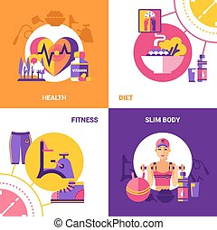 Fitness 2x2 Design Concept Set - Fitness 2x2 flat design...