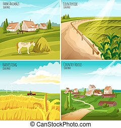 Countryside 4 Flat Pictograms Square Composition -...