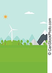 Background of mountains with wind turbine.