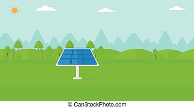 Background of mountains with solar panel - Background of...