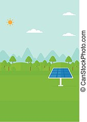 Background of mountains with solar panel. - Background of...