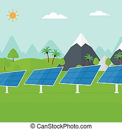 Background of solar power station in the mountain -...