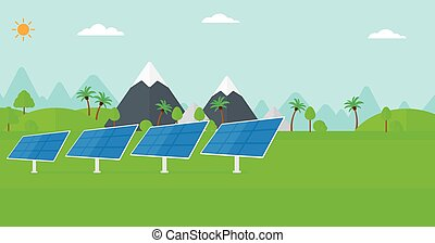 Background of solar power station in the mountain. -...