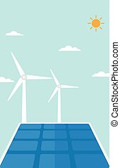 Background of solar panels and wind turbines - Background of...