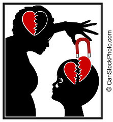 Narcissistic Mother - Concept sign of emotional child abuse...