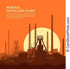 Mineral fertilizers plant at sunset Detail vector...