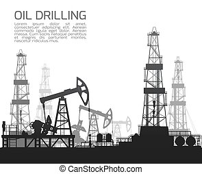 Drilling rigs and oil pumps isolated on white background...