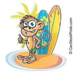 monkey  surfer  cartoon on island with surfboard