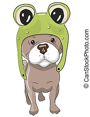 Dog in froggy hat - Cute Cartoon Dog in a froggy hat on a...