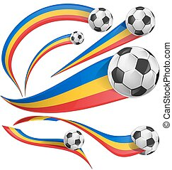 romania flag set with soccer ball