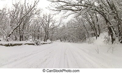 winter road after snowfall, Go Pro - heavy trip to the...