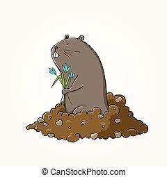 Happy Groundhog Day design with cute groundhog EPS 10 vector...