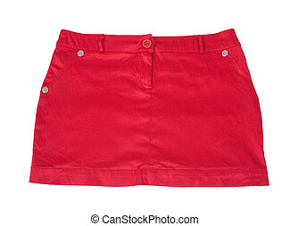 Red short skirt. Isolated on white background with clipping...