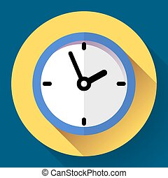 Clock icon, Vector illustration flat design with long shadow...
