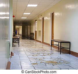 corridor of hospital - Long corridor of city hospital