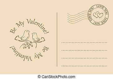 vector postcard for valentines day