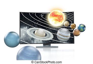 tv, conceito,  3D