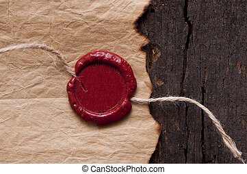 Vintage blank red wax seal - Blank paper with wax seal