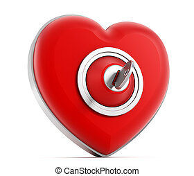 Locked heart - Locked red heart isolated on white...