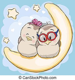 Two Birds on the moon - Two Cute Birds is sitting on the...