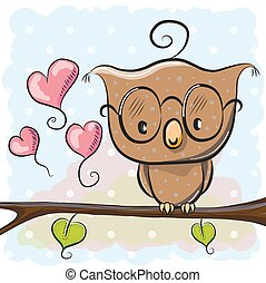 Cute Owl - Cute cartoon owl with glasses is sitting on a...