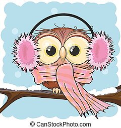 Owl in a fur headphones - Cute Cartoon owl in a fur...