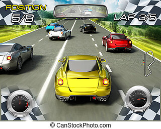 Car racing video game screen with speedmeters on the lower...