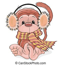 New Year Monkey - Greeting New Year Card with cute red...