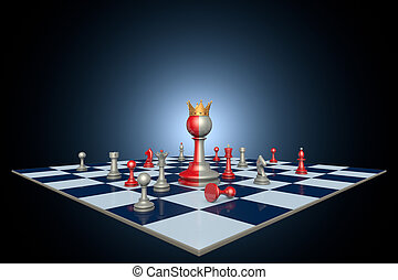 Successful political career chess metaphor - Chess pieces on...