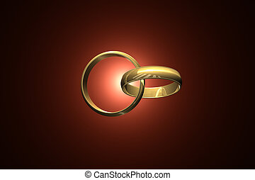 Together forever. - Two wedding ring on a dark art...
