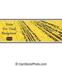 Tire track banner - Yellow grunge background with tire...