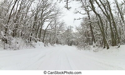 forest road after snowfall, Go Pro - heavy trip to the...