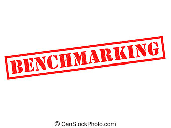 BENCHMARKING red Rubber Stamp over a white background.