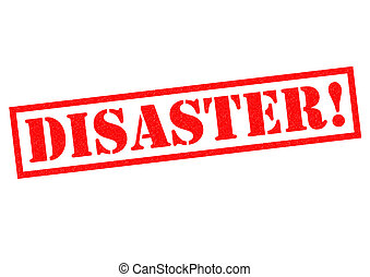 DISASTER red Rubber Stamp over a white background