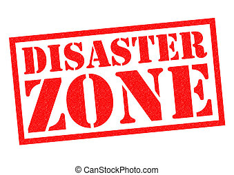 DISASTER ZONE red Rubber Stamp over a white background.
