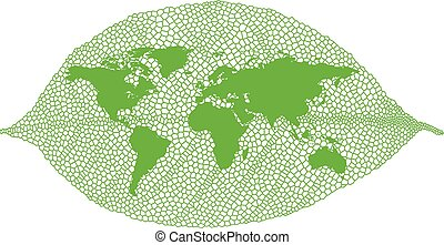 Green leaf world map, vector - World map on green vein leaf,...