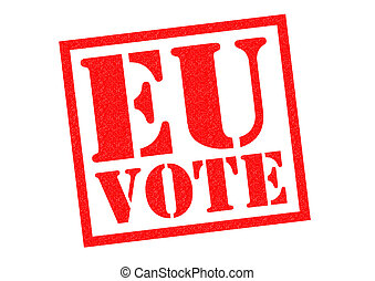 EU VOTE red Rubber Stamp over a white background.