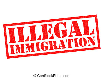 ILLEGAL IMMIGRATION red Rubber Stamp over a white...