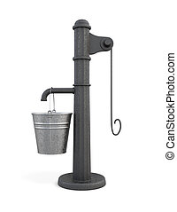 Water pump with bucket on a white background. 3d rendering.