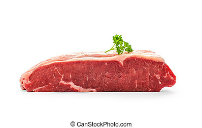 Raw rump steak with parsley twig isolated on white