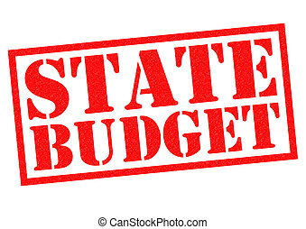 STATE BUDGET red Rubber Stamp over a white background