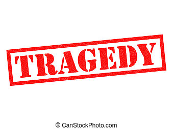 TRAGEDY red Rubber Stamp over a white background