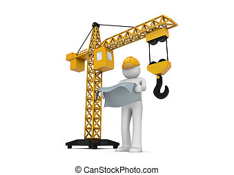 Builder and crane - 3d isolated on white background...