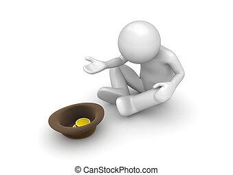 Beggary, (3d, isolado, branca, fundo, caráteres,...