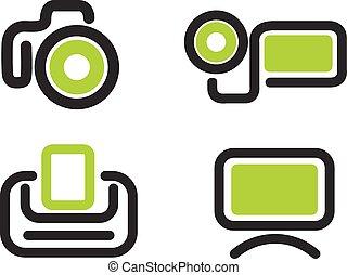 Photo video icon set - Photo video simply symbols for web...